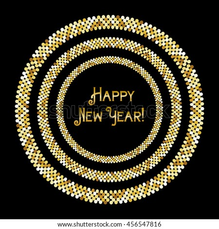 Glamour golden glitter frame for your decoration, can be used as Happy New Year or Merry Christmas banner, gift certificate or vip card, bachelorette or other night party invitation etc - stock photo