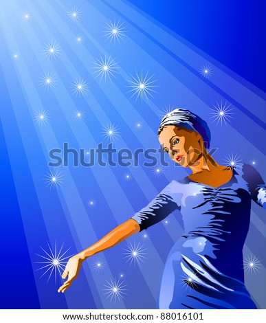 Glamour lady & ray of lights. Bitmap copy my vector ID 39644476 - stock photo