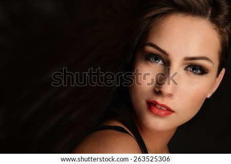 Glamour portrait of beautiful woman  - stock photo