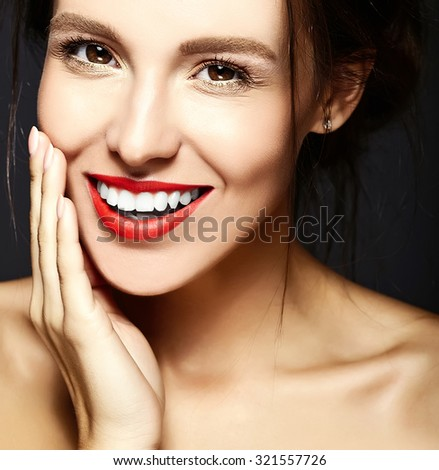 glamour portrait of beautiful  woman model lady with fresh daily makeup with red lips and clean face and romantic wavy hairstyle.  - stock photo