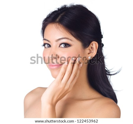 Glamour portrait of beautiful woman on white background - stock photo