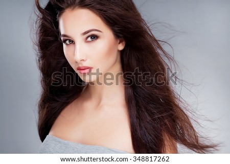 Glamour Portrait of black hair woman isolated on white. fashion style studio shot