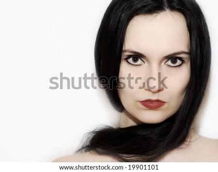 glamour shot of a black hair girl - stock photo