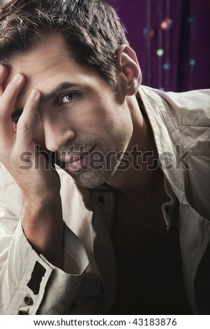 Glamour style photo of an attractive guy - stock photo