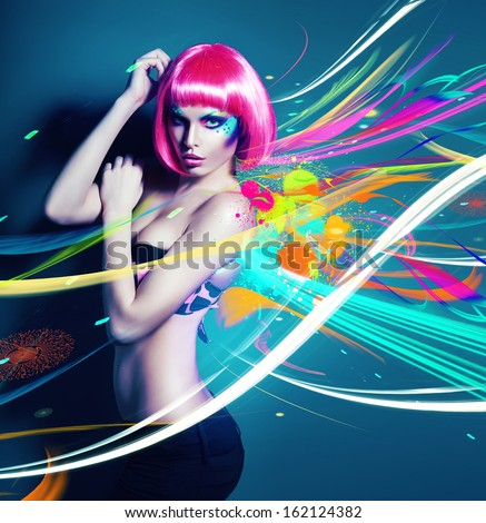 glamour woman in pink wig with abstract - stock photo