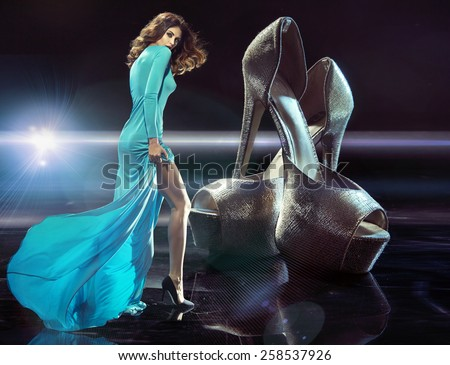 Glamour woman on high heels - stock photo
