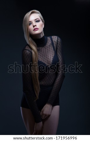 glamour young  long hair woman in black