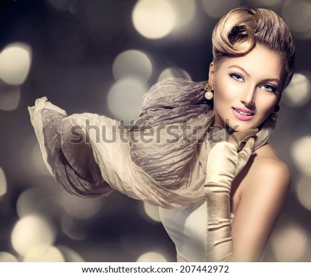 Glamourous Retro Woman Portrait. Beauty Glamour Lady with long blowing scarf. Golden gloves. Vintage styled Girl with perfect make up and hairstyle over Holiday blinking background. Luxury Accessories - stock photo
