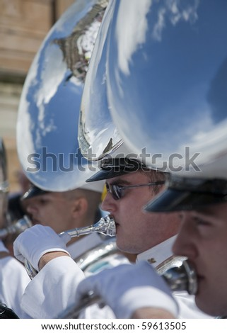GLASGOW- AUGUST 9 : An American Military Tattoo Band performs at a festival on AUGUST 9, 2010 in Glasgow, Scotland. - stock photo