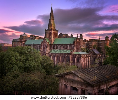 Glasgow Cathedral and Glasgow Skyline in the Morning, Scotland, United Kingdom