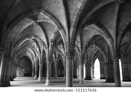 "GLASGOW, SCOTLAND - APRIL 24: ""The Cloisters"", Glasgow University, Scotland on April 24, 2010. Constructed by George Gilbert Scott in 1870s - stock photo"