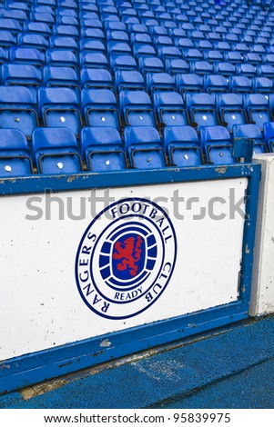 GLASGOW,SCOTLAND-FEBRUARY 13:Govan Stand at Ibrox Stadium Glasgow , home of Glasgow RangersFC.The club has recently been placed in administration due to unpaid tax bills Glasgow February 13, 2010 in Glasgow