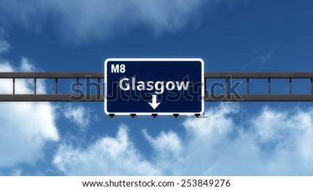Glasgow Scotland Highway Road Sign 3D Illustration - stock photo