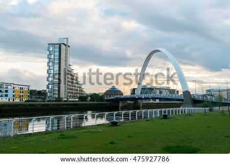 Glasgow, Scotland - 18 July 2016 : Clyde Arc and building along Clyde River in Glasgow, United Kingdom.