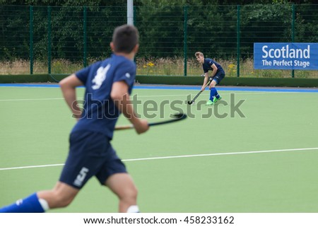 Glasgow, Scotland -  July 23rd 2016. EuroHockey Youth championships held at the Glasgow National Hockey Centre. Warm up match between Scotland and Switzerland U18 men.