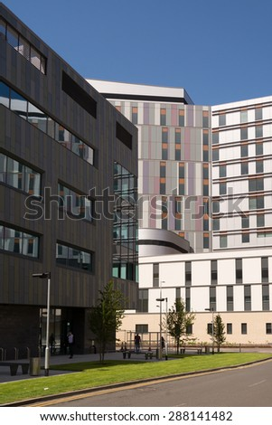 GLASGOW, SCOTLAND, UK - 17 JUNE 2015: The new South Glasgow University Hospital