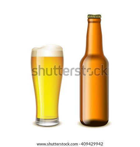 Glass and a bottle of beer isolated on white background. Stock illustration.
