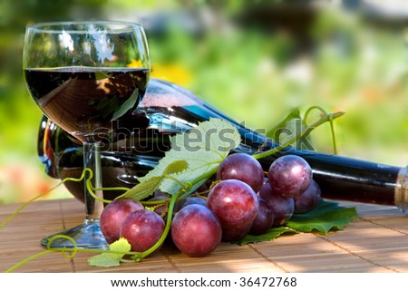 Glass and bottle of red wine with green leaf - stock photo