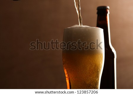 Glass and bottle with beer. - stock photo