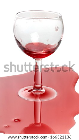 Glass and spilled red wine - stock photo