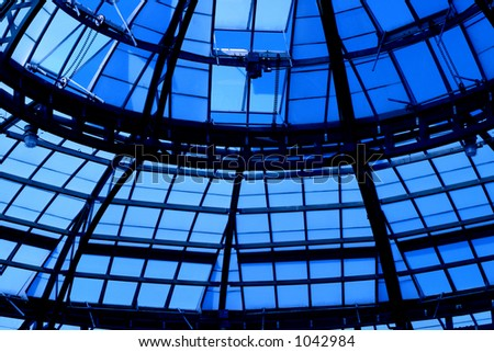 Glass and steal beams - stock photo