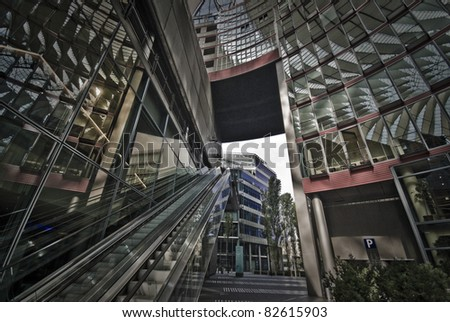 Glass and steel center - stock photo