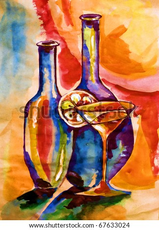 Glass and two bottles against bright light drawn on kraft water color paper water color colors