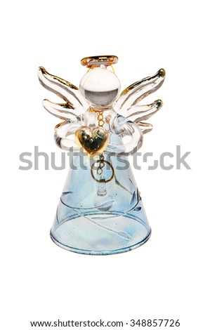 Glass Angel Christmas ornament isolated against white - stock photo
