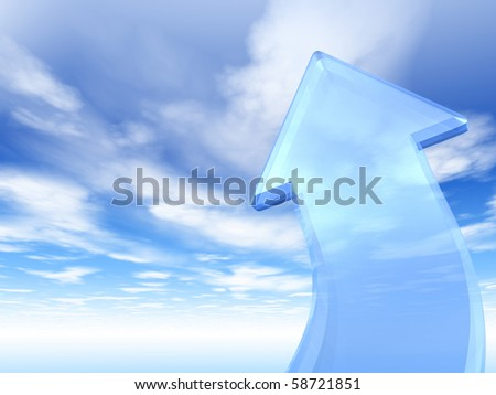 Glass arrow leading to the heaven, 3d render - stock photo