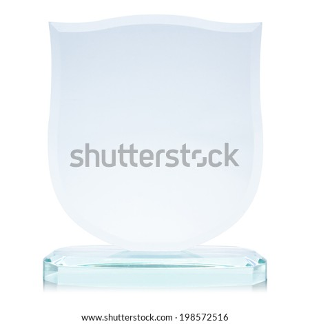 Glass award, isolated on white,  file includes a excellent clipping path - stock photo