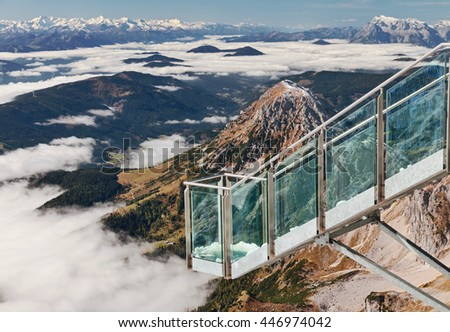 Glass balcony over the clouds at Dachstein Glacier, near Schladming, Austria.