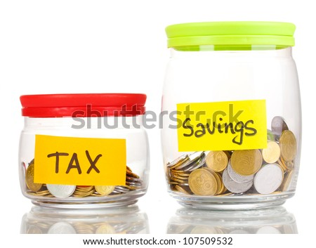 Glass banks for tips with money isolated on white