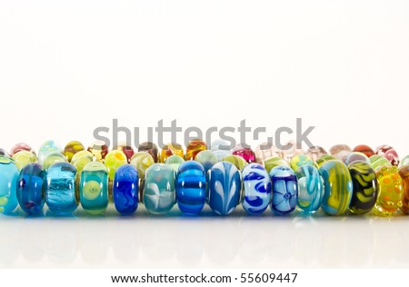 Glass beads in line - stock photo