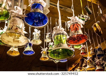 Glass bells, Christmas New year decoration in traditional German style - stock photo