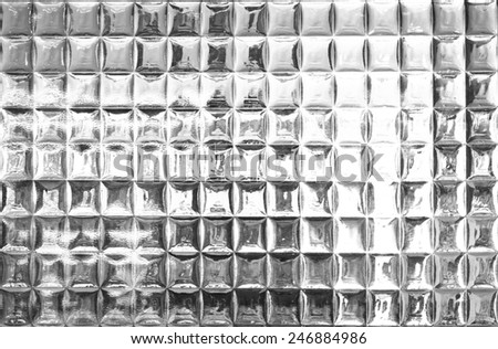 Glass block wall texture and background with Reflection - stock photo