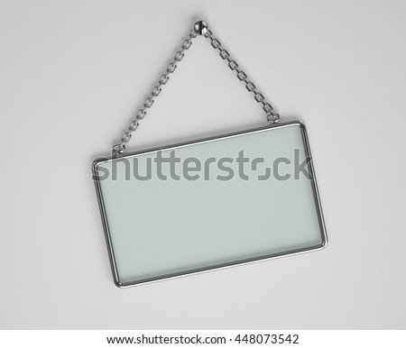 Glass board with glossy metal frame hanging on a chain. 3D rendering - stock photo