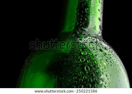Glass bottle closeup - stock photo
