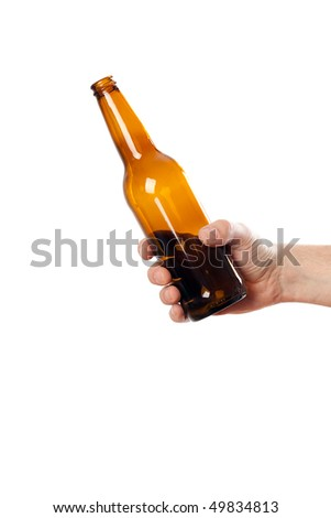 glass bottle in hand isolated on white background - stock photo