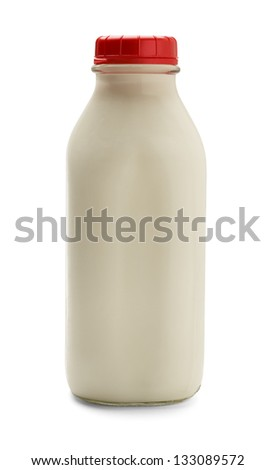 Glass bottle of milk with red cap isolated on a white background. Side View. - stock photo