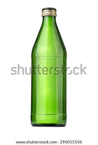 Glass bottle of soda water. Isolated on white background