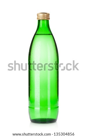 Glass bottle of sparkling water. Isolated on white background - stock photo