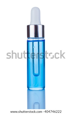 Glass Bottle with dispenser on white background. Serum Oil nail, body care. Aesthetic care.
