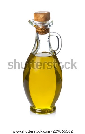 Glass bottle with extra olive oil isolated on a white background - stock photo