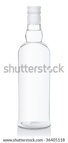 Glass bottle with Russian vodka. Closed version (serie of images) - stock photo