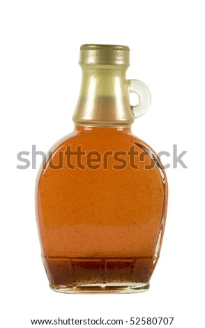 Glass bottle with strawberry/maple syrup; isolated, two clipping paths included - stock photo