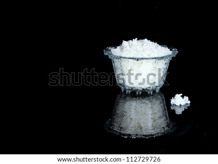 Glass bowl of cooked rice - stock photo