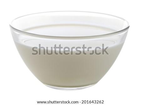 Glass bowl of yogurt isolated on white - stock photo