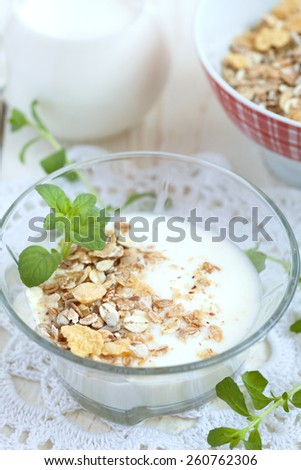 Glass bowl with homemade yogurt and granola (sunflower seeds, corn, oat and barley flakes and nuts), selective focus - stock photo