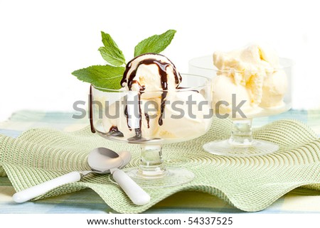 Glass Bowl With Vanilla Ice Cream, With Chocolate Sauce - stock photo
