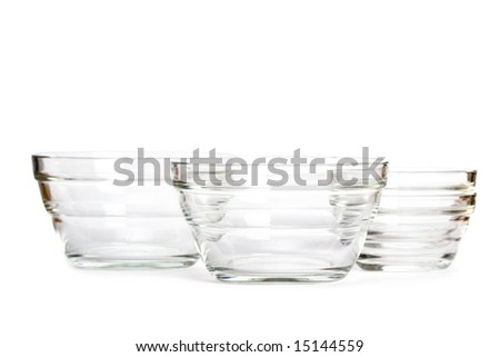 glass bowls on white background - stock photo